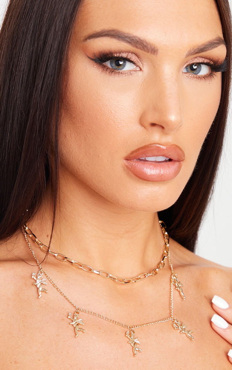 Gold Layering Cherub Necklace 1
