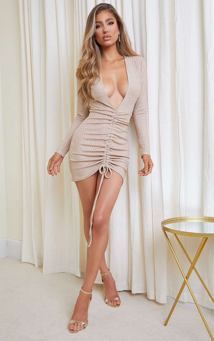 Gold Glitter Rib Long Sleeve Plunge Ruched Bodycon Dress 3