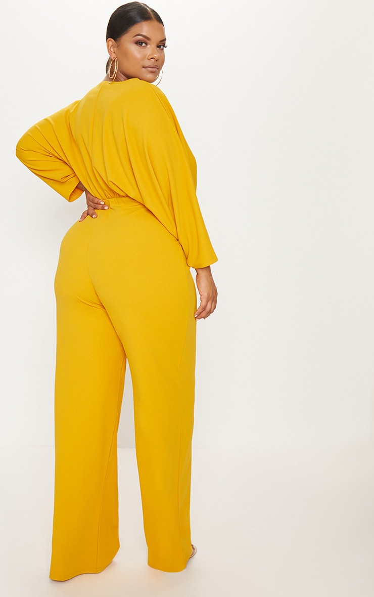Plus Mustard Crepe Batwing Cut Out Jumpsuit 2