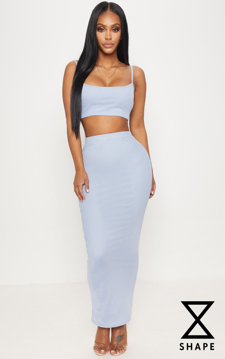 Shape Light Blue Mesh Midaxi Skirt