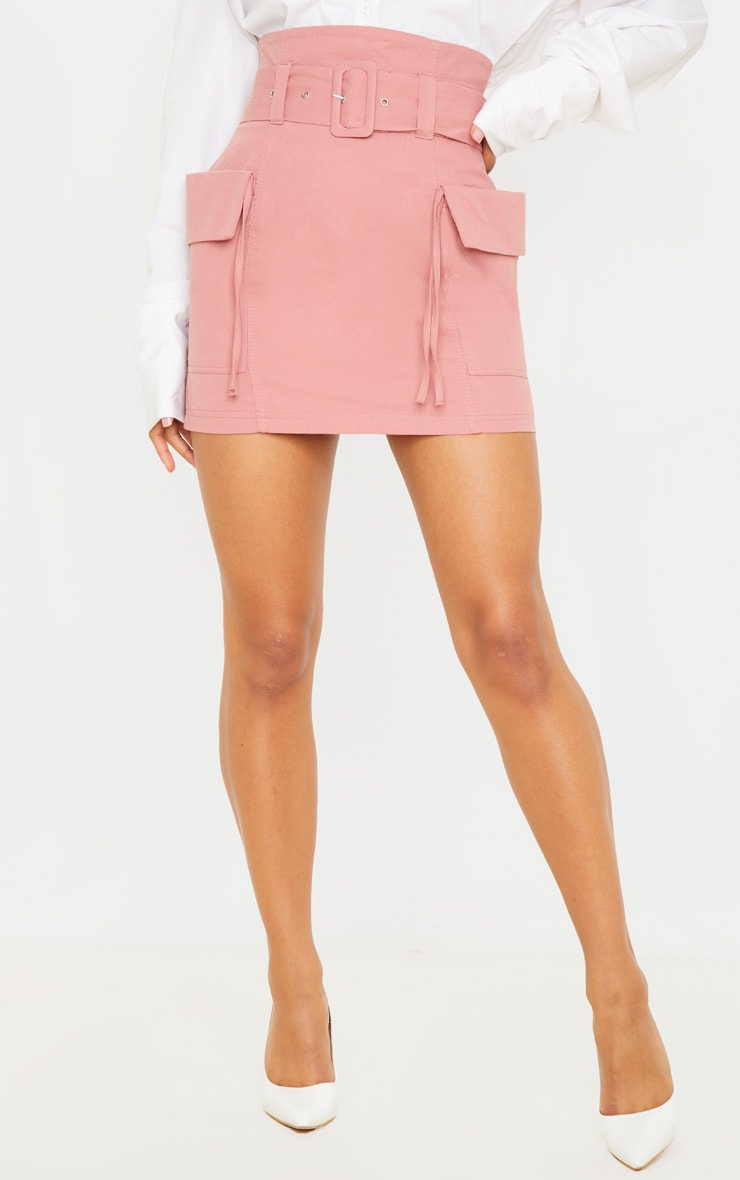 Dusty Rose Belted Pocket Detail Cargo Mini Skirt 2