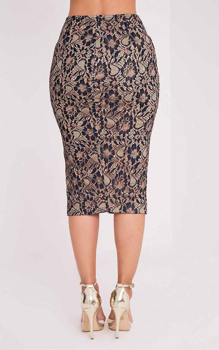 Lilybel Navy Lace Midi Skirt 5