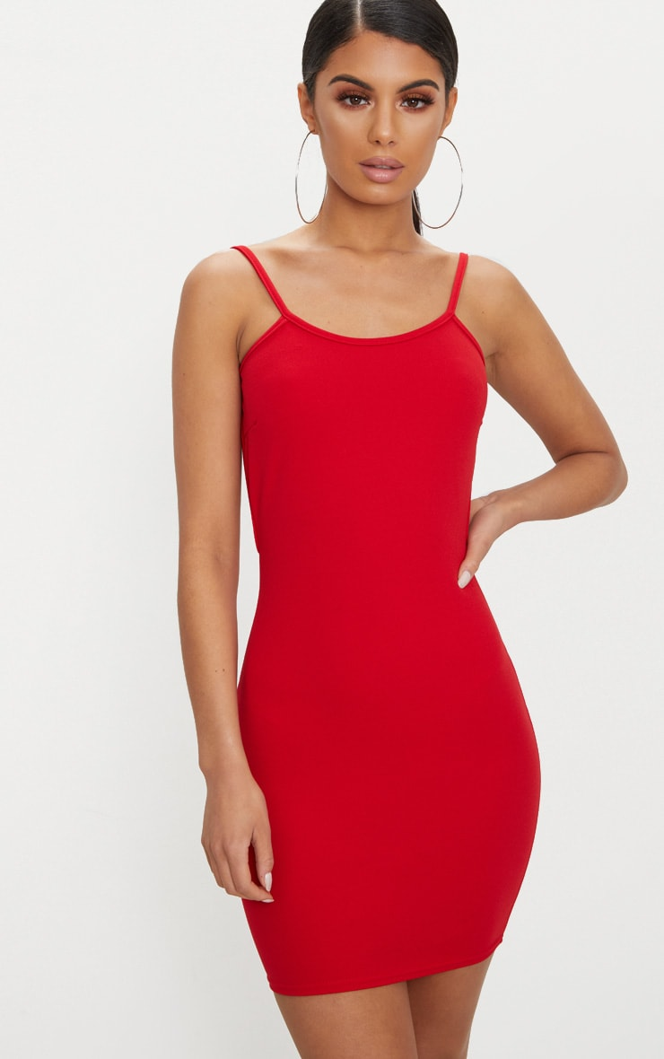Red Zip Detail Low Back Strappy Bodycon Dress 2