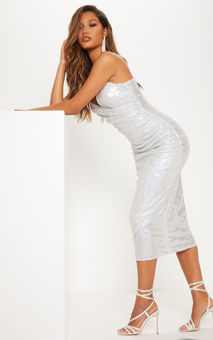 Silver Sequin Wrap Over Midaxi Dress 5