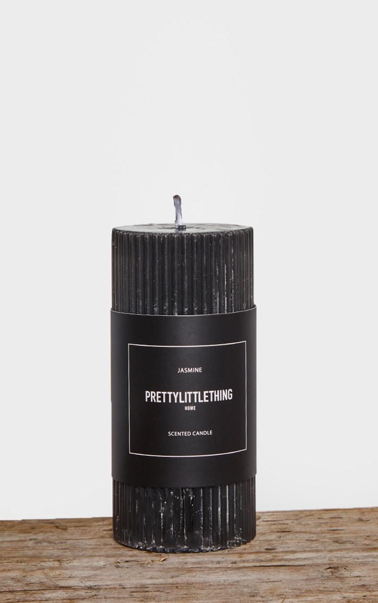 PRETTYLITTLETHING Black Large Jasmine Scented Pillar Candle 3