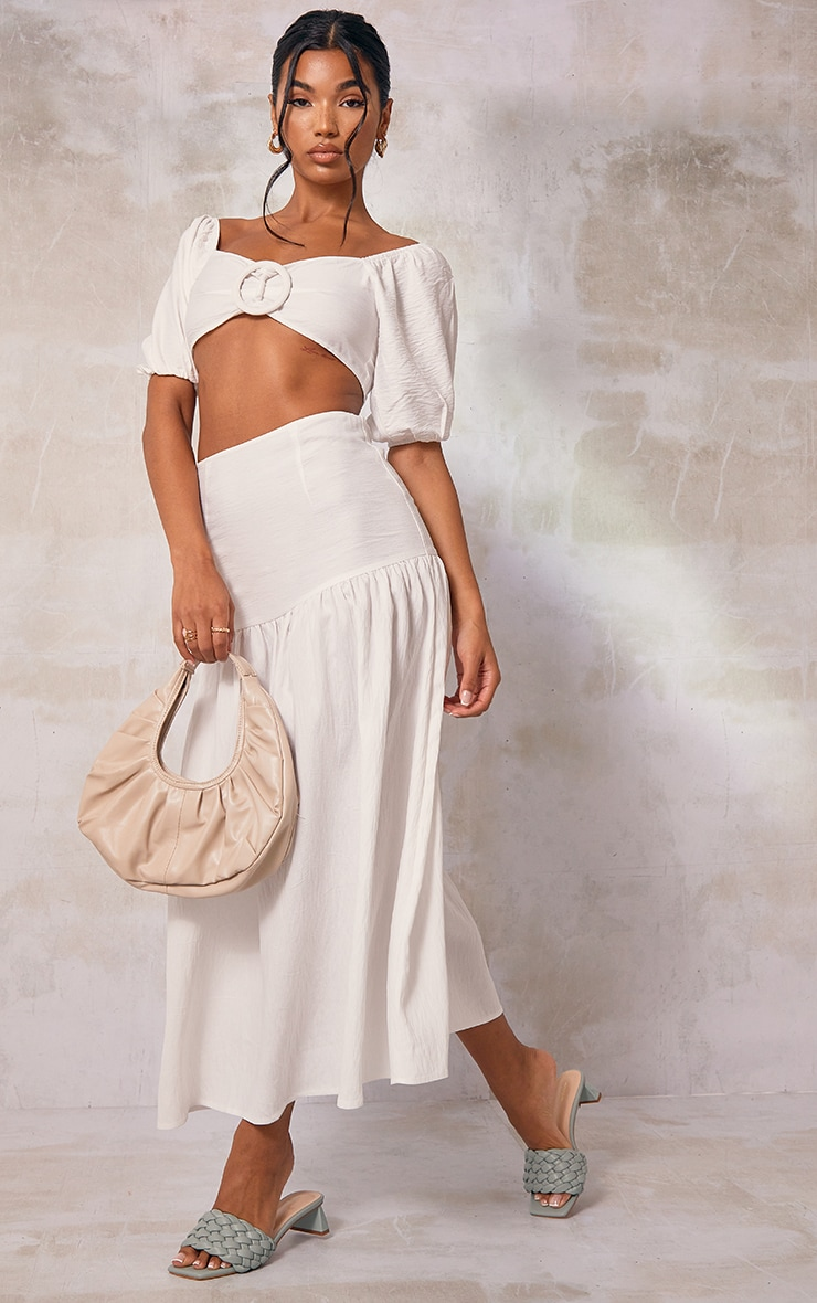 White Woven Tiered Panel Midi Skirt 1