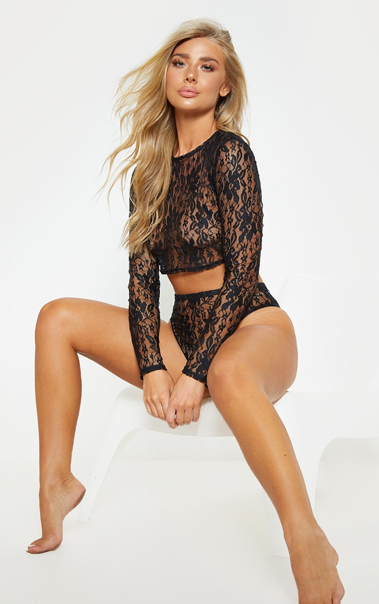 Black Lace Crop Top And Knicker Set 4