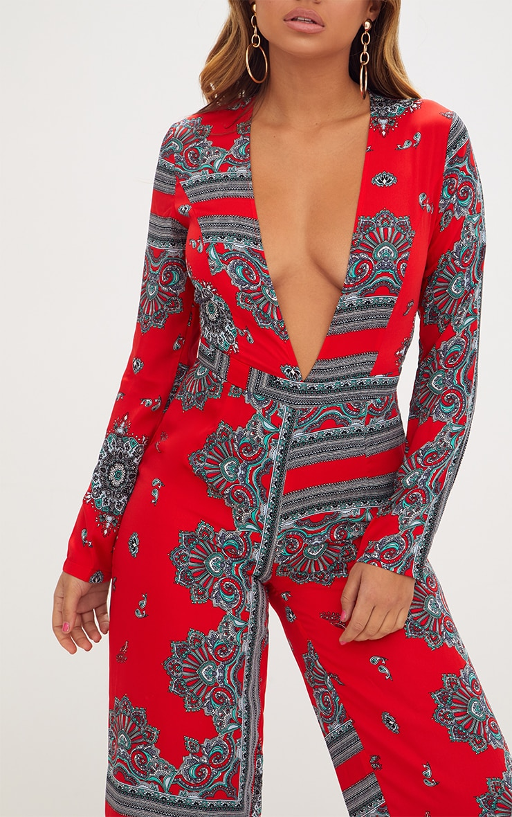 Red Scarf Print Long Sleeve Plunge Jumpsuit 5