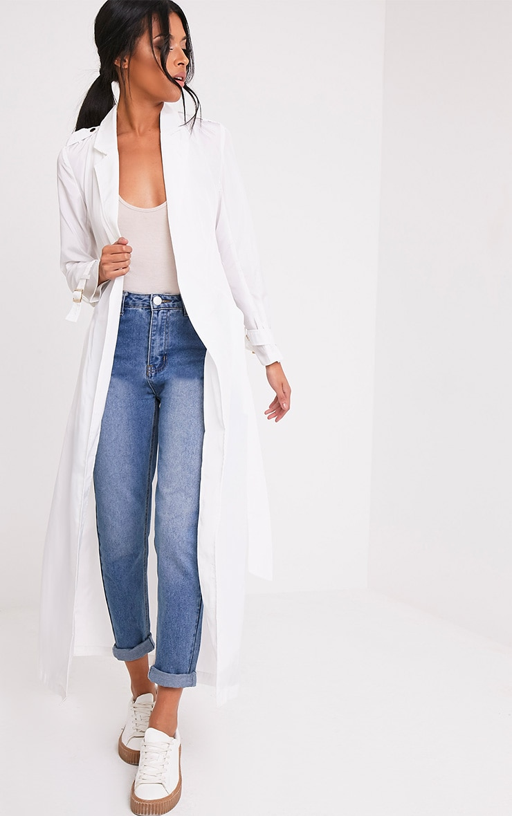 Hebe White Lightweight Duster Mac 1