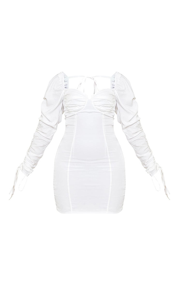 Cream Woven Ruched Cup Detail Long Sleeve Bodycon Dress 5