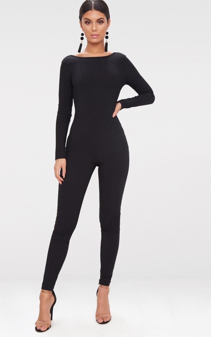 Black Ribbed Long Sleeve Scoop Back Jumpsuit 2