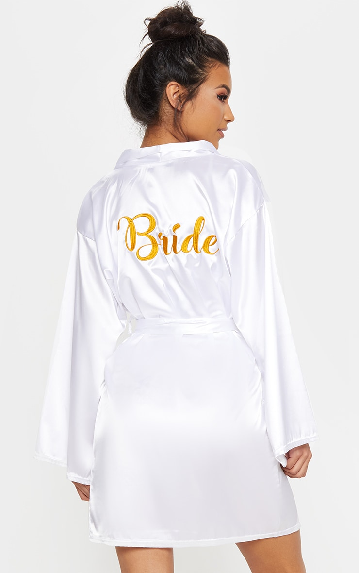 White Bride Embroidered Back Satin Robe 1