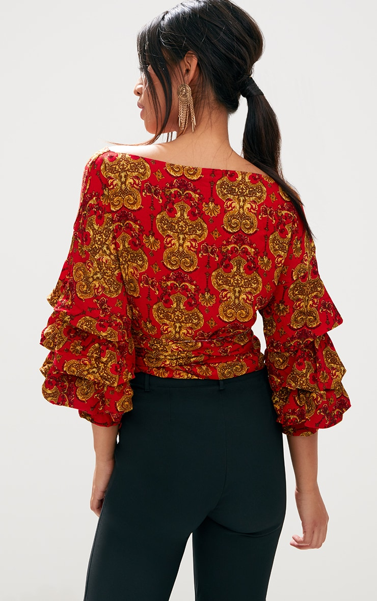 Red Chain Print Ruffle Sleeve Low Shoulder Shirt 2