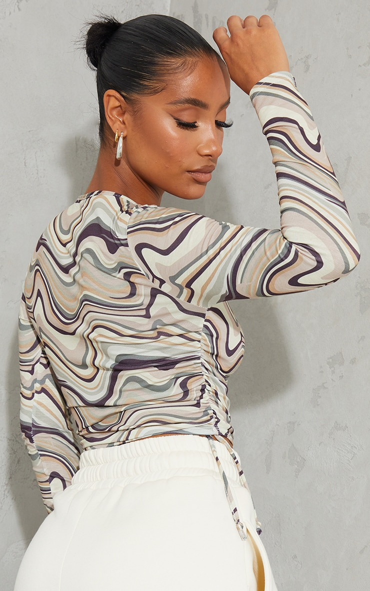 Beige Print Jersey Tie Ruched Side Long Sleeve Crop Top 2