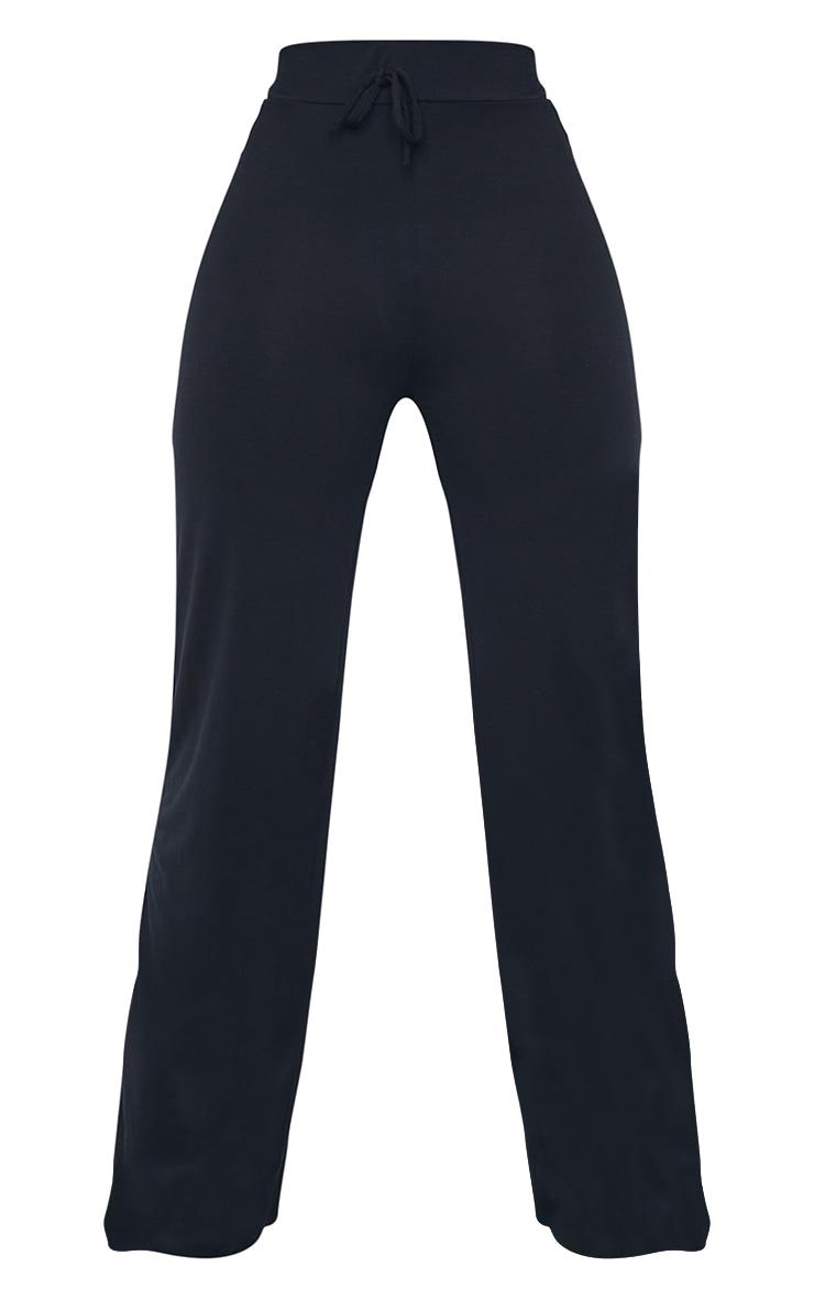 Tall Black Drawstring Jersey Wide Leg Jogger 5