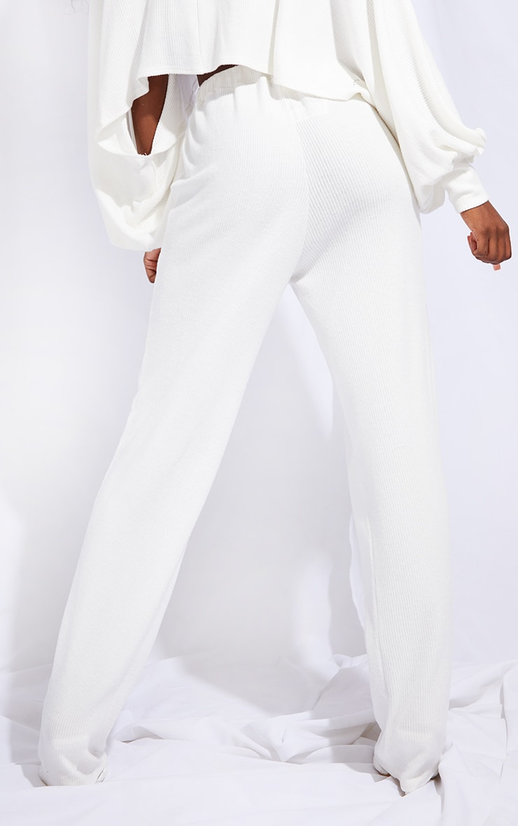 Tall Cream Ruched Waist Brushed Rib Wide Leg Trousers 3
