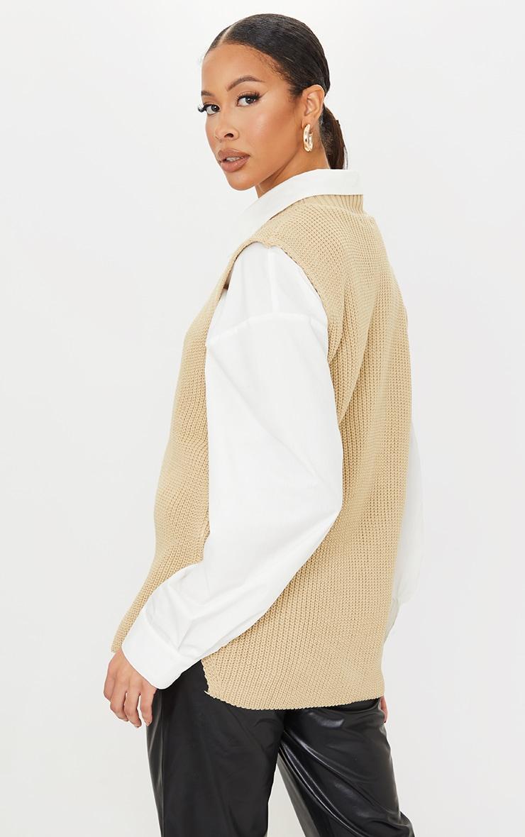 Tall Oatmeal V Neck Knitted Side Split Vest 2