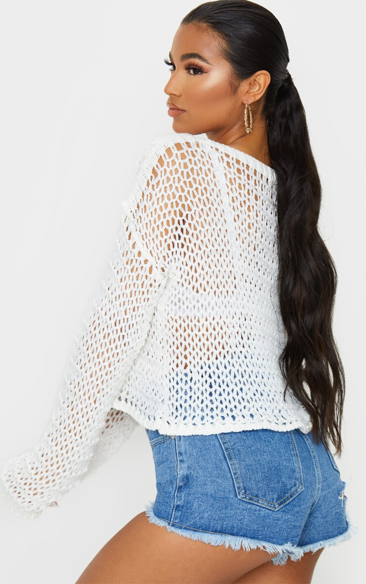 Cream Soft Open Knitted Drop Shoulder Sweater 2