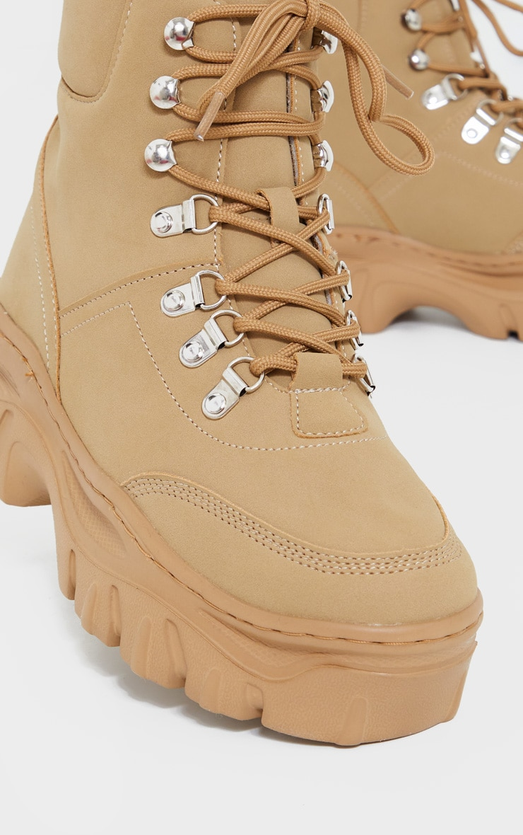 Sand Wide Fit Flatform Chunky Hiker Boots 4