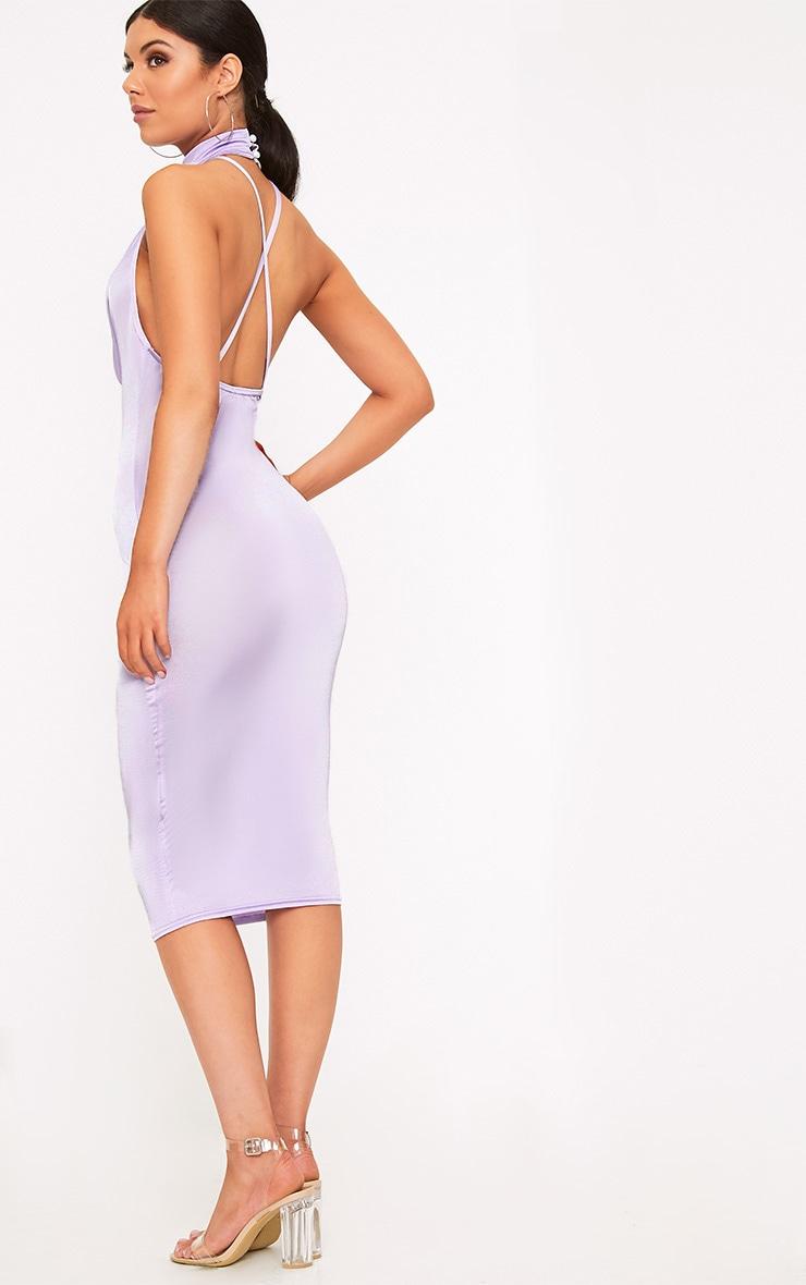 Jaylani Lilac Slinky Cowl Neck Midi Dress 2