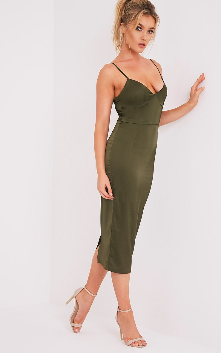 Aisha Khaki Satin Panel Midi Dress 4