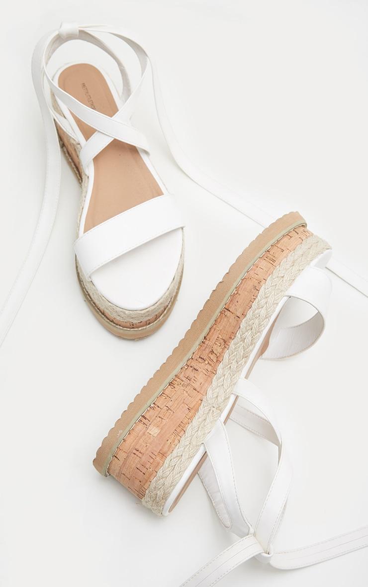 Jacey White Espadrille Flatform Sandals 4