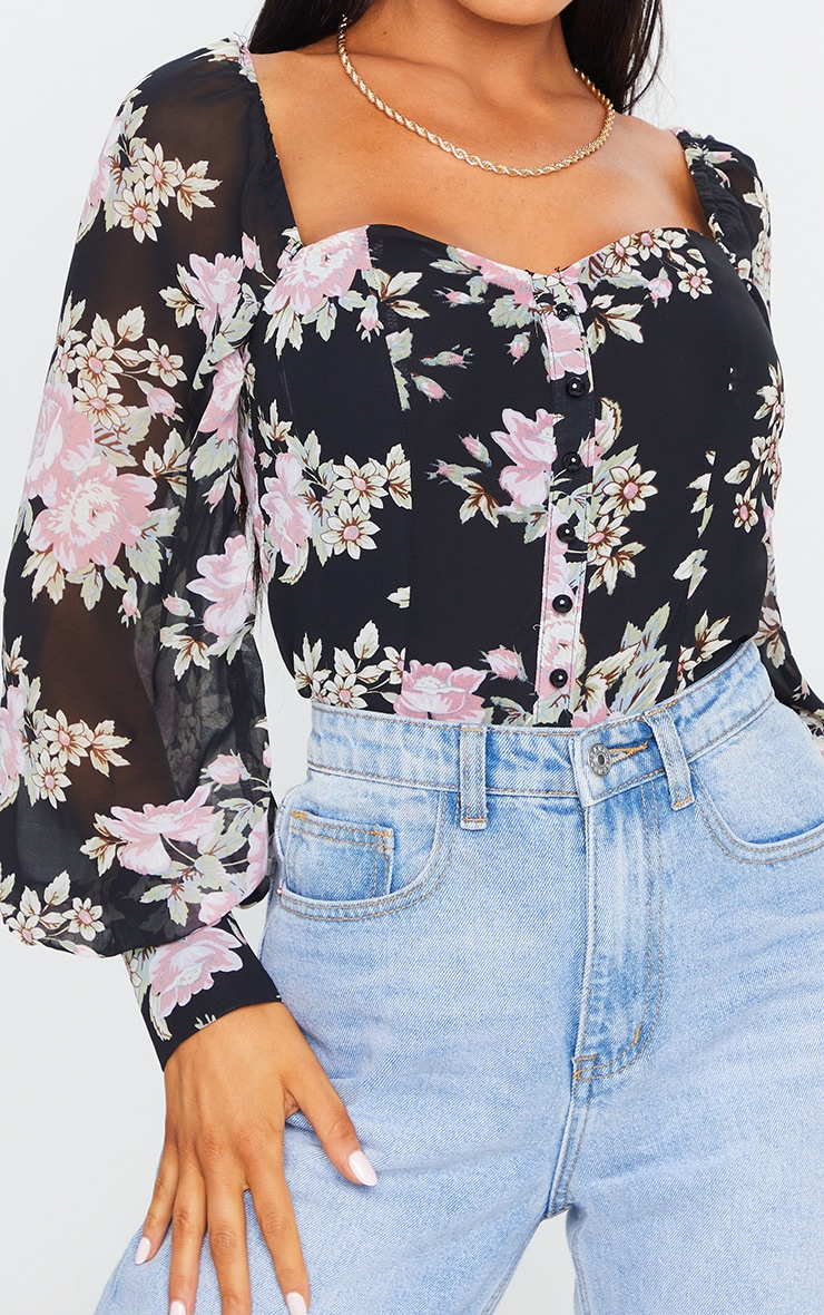 Black Floral Long Sleeve Blouse 4
