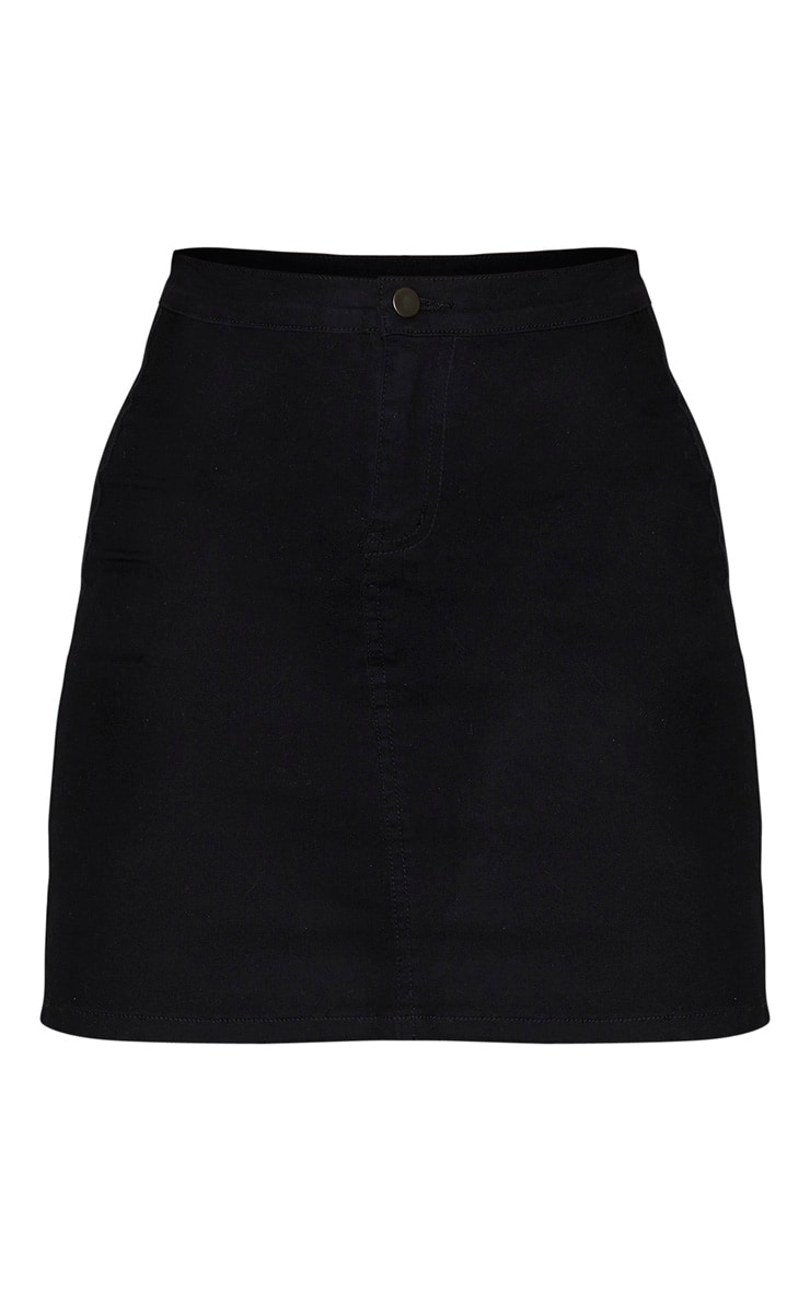 Tall Black Disco Fit Denim Skirt 3