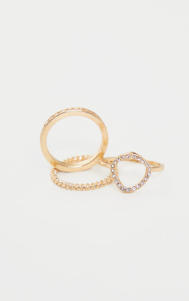 Gold Diamante Assorted Three Pack Rings 4