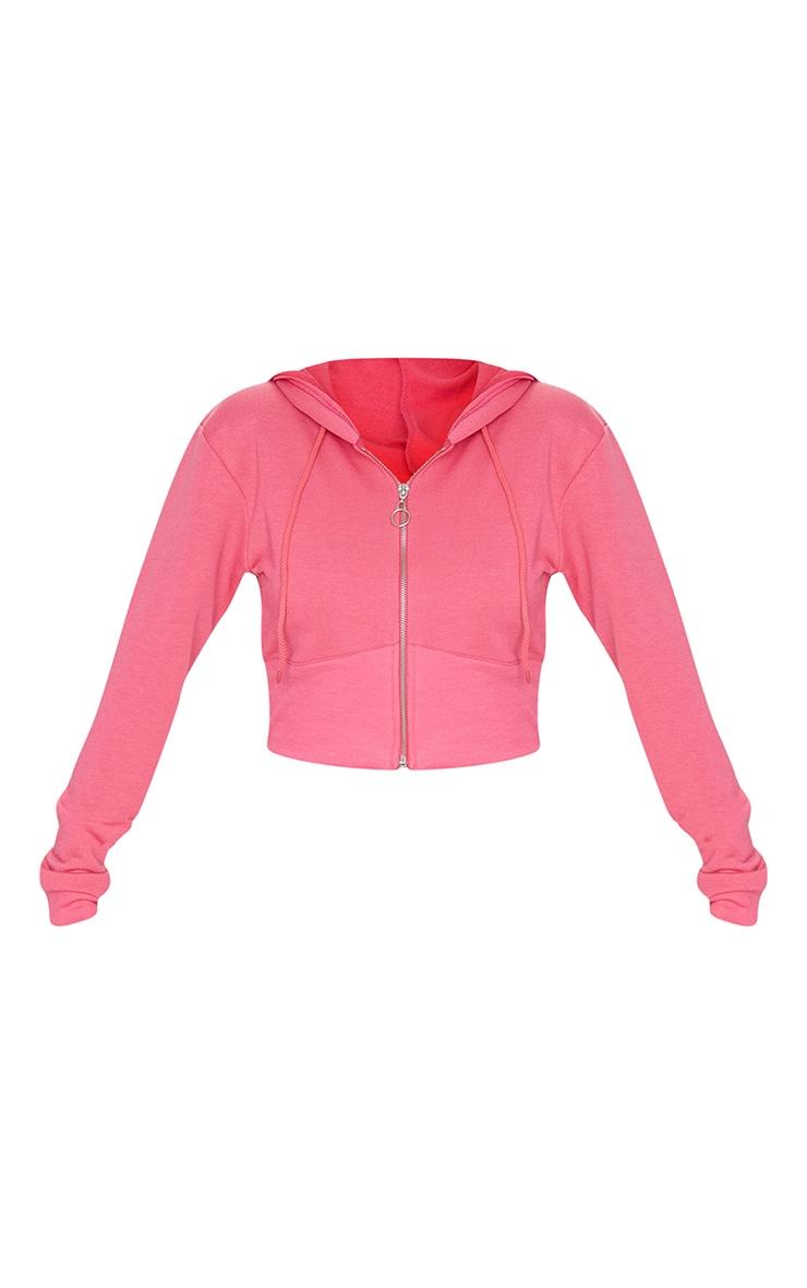Hot Pink Zip Up Bustier Hoodie 4