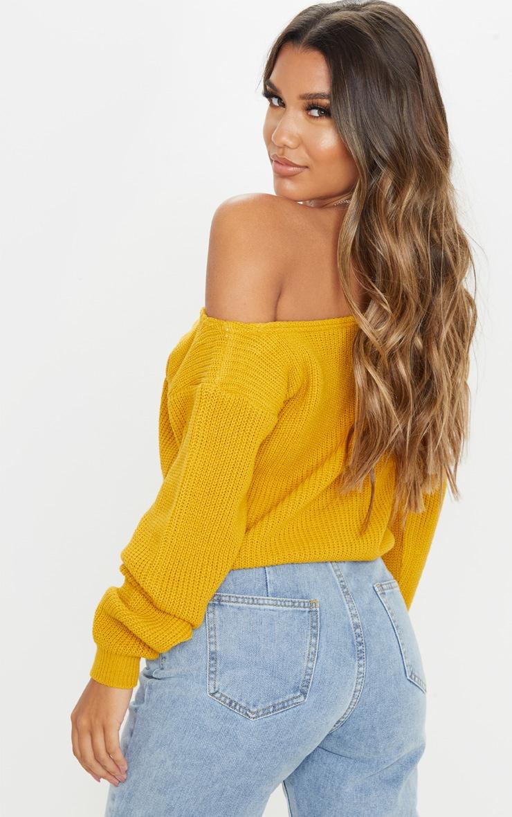 Mustard Off Shoulder Knitted Crop Jumper 2