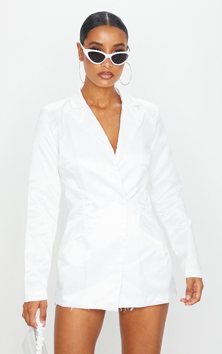White Longline Button Front Blazer 3