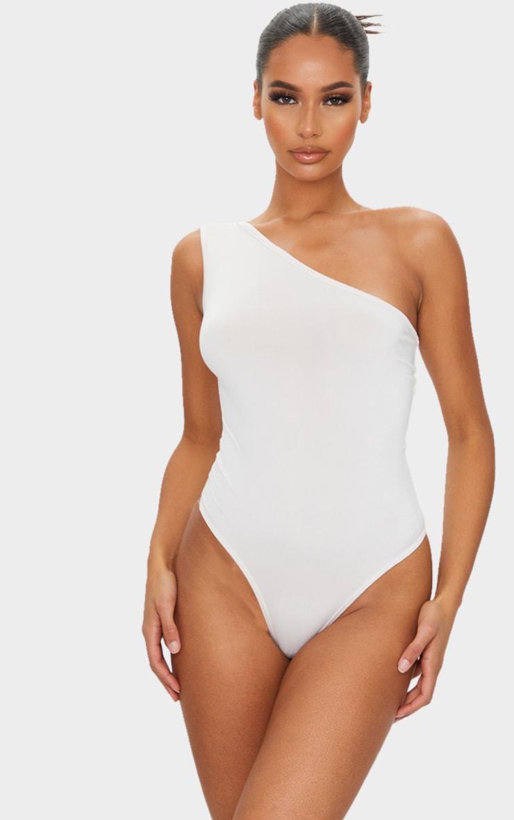 Cream Soft Touch One Shoulder Bodysuit 2