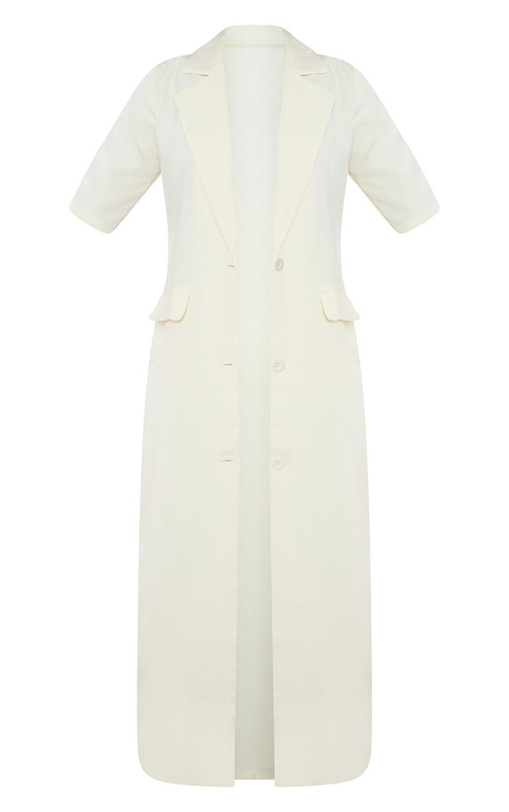 Cream Stretch Woven Pocket Detail Short Sleeve Longline Blazer 5