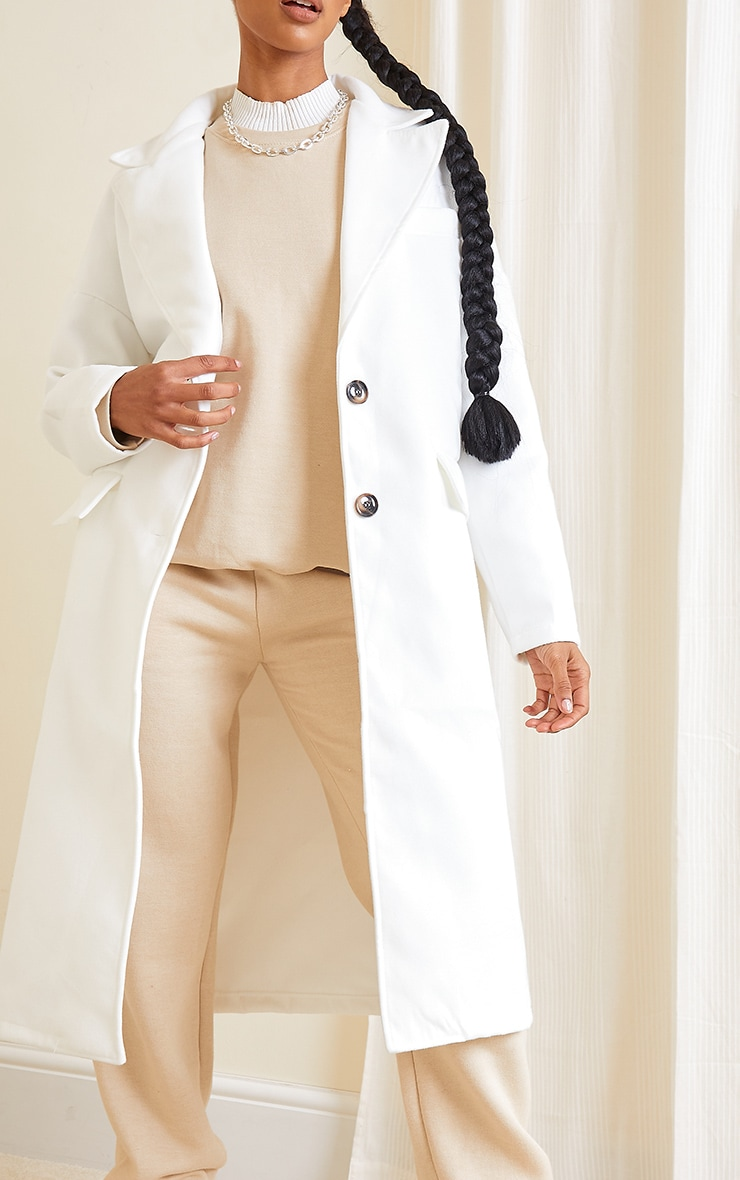 Cream Wool Pointed Collar Pocket Front Midi Coat 4