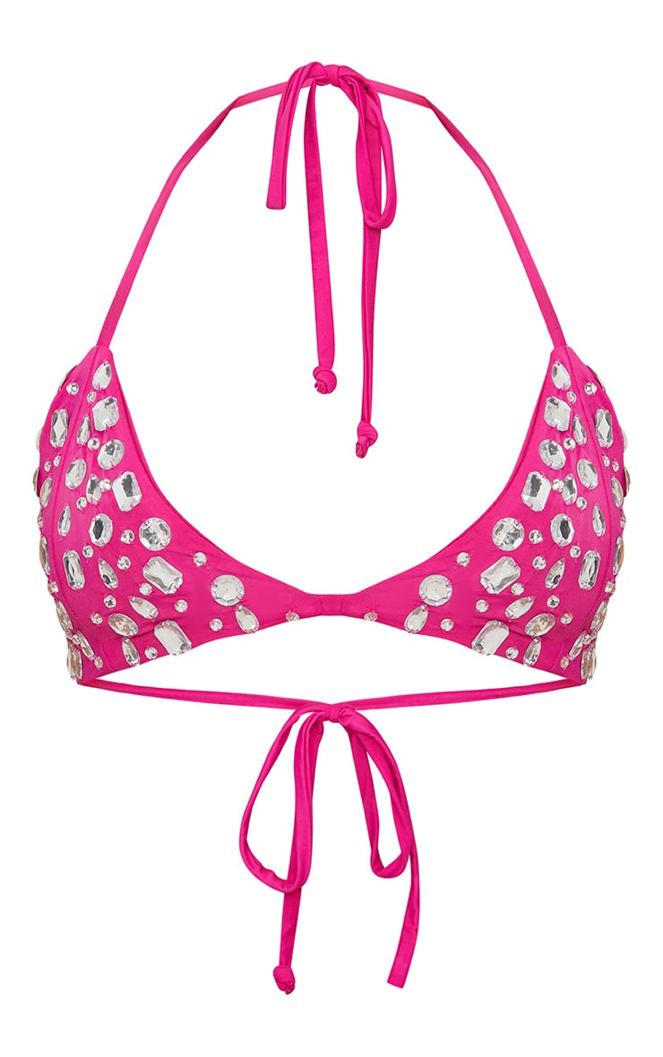 Premium Hot Pink Jewelled Triangle Pool Party Top 4