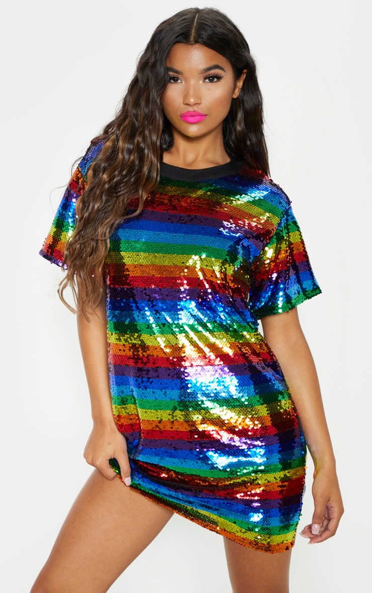 Multi Sequin Stripe Oversized Dress  2