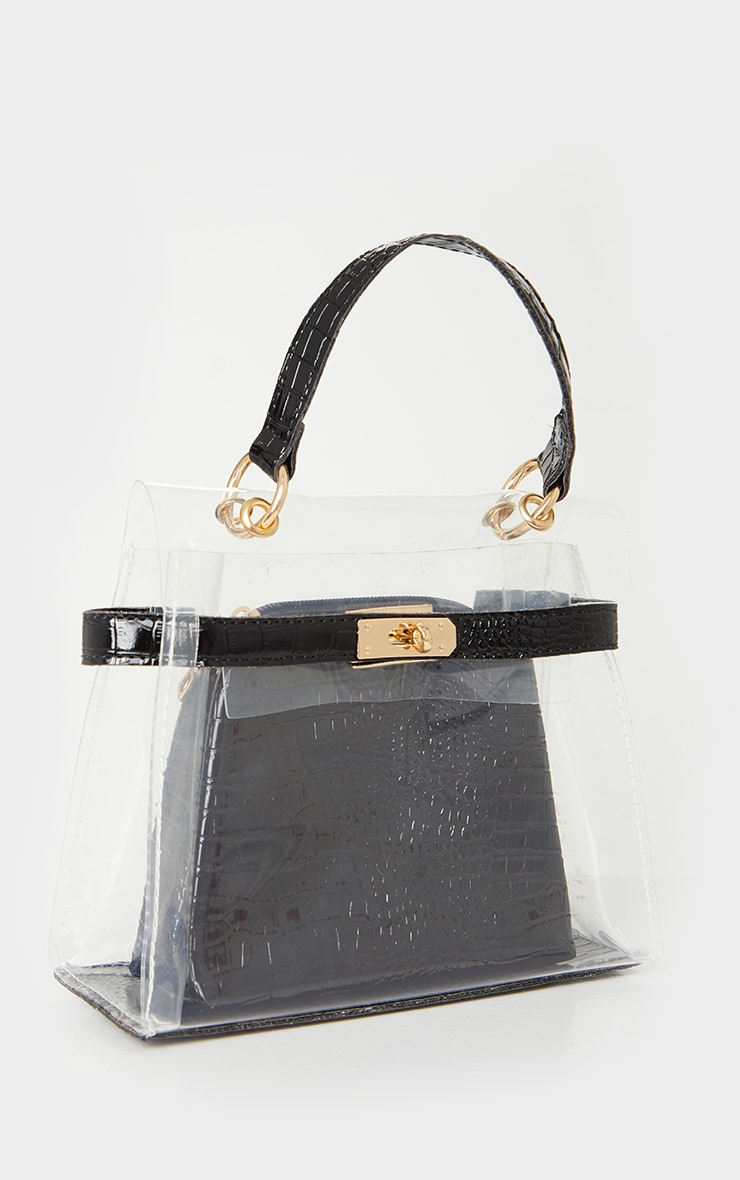 Clear Mini Black Croc Cross Body Bag 3