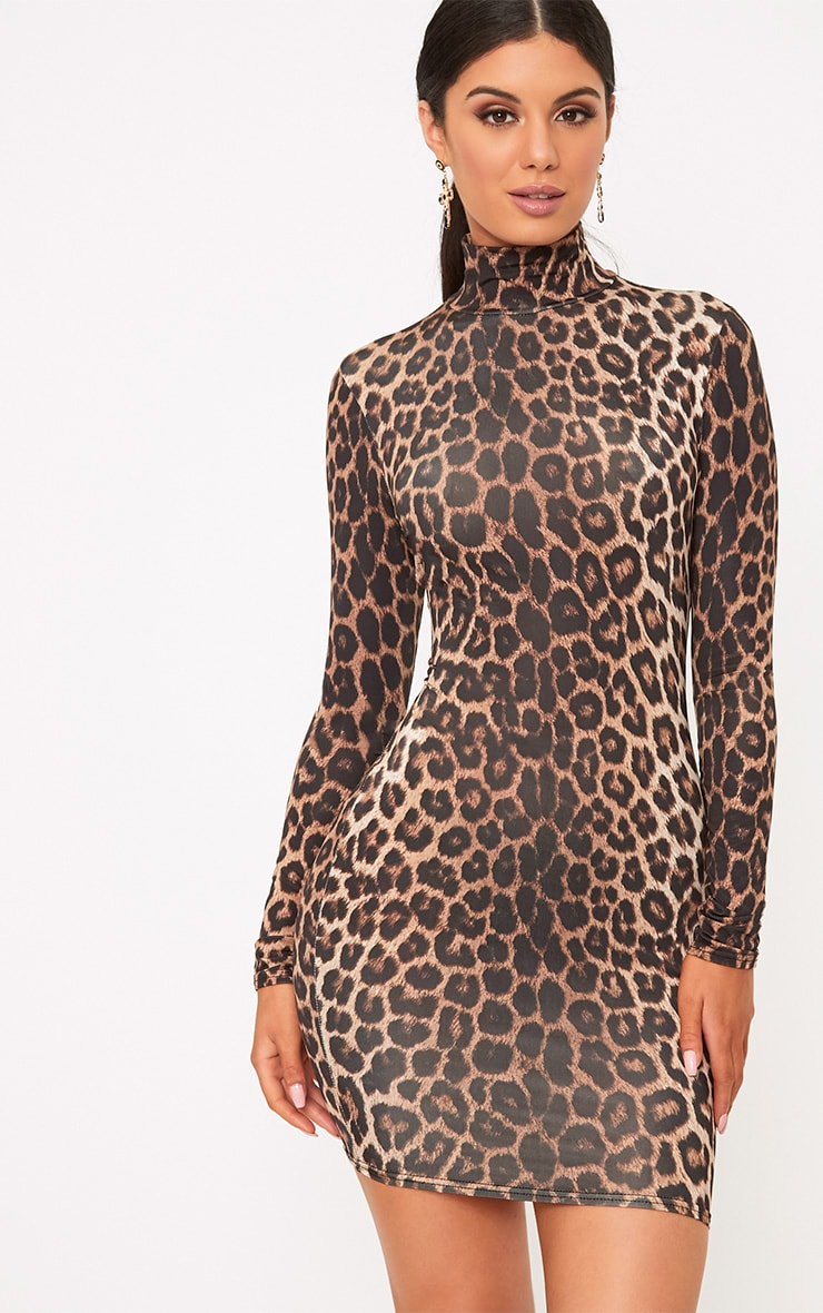Leopard Print Bodycon Dress 1