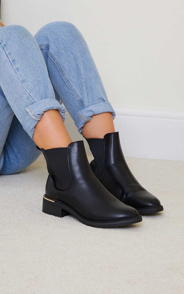 Black Wide Fit Basic Gold Trim Chelsea Ankle Boot 2