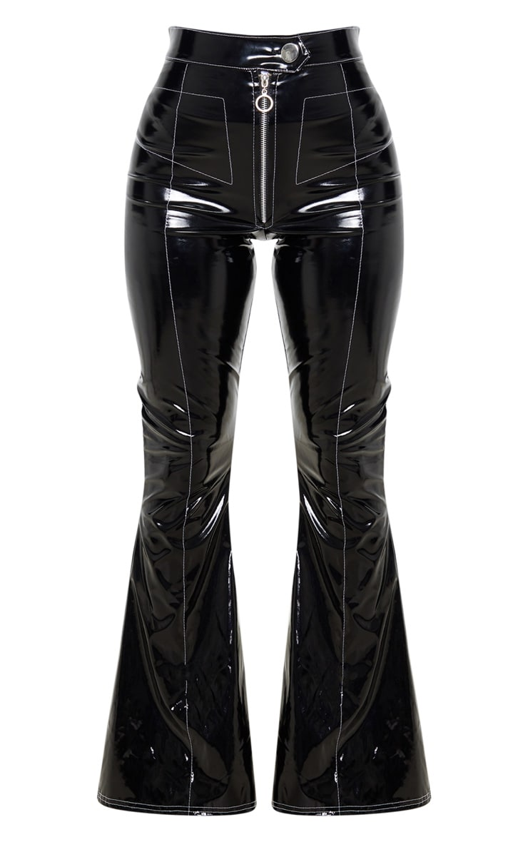 Petite Black Contrast Stitch Vinyl Flared Pants  3