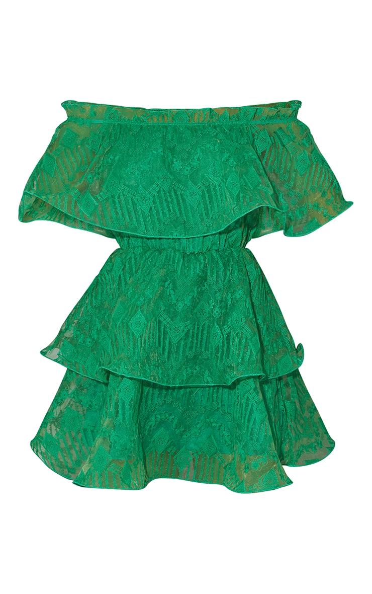 Bright Green Lace Bardot Ruffle Tiered Dress 5
