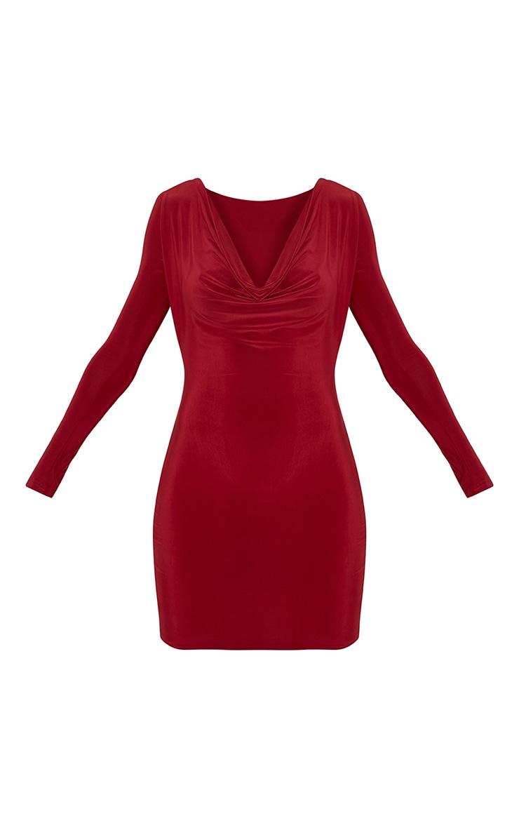 Celestia Burgundy Cowl Neck Bodycon Dress 3