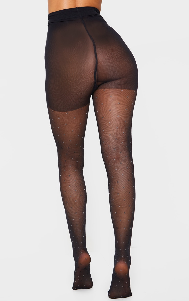 Collants noirs à pois pailletés 3