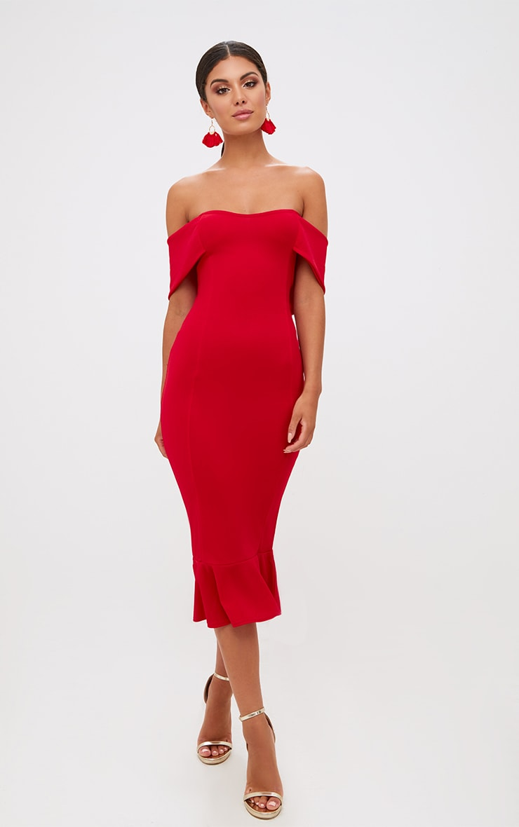 Red Bardot Frill Hem Midi Dress 5