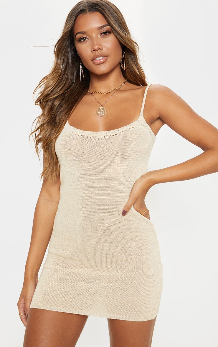 Camel Knitted Strappy Dress  1