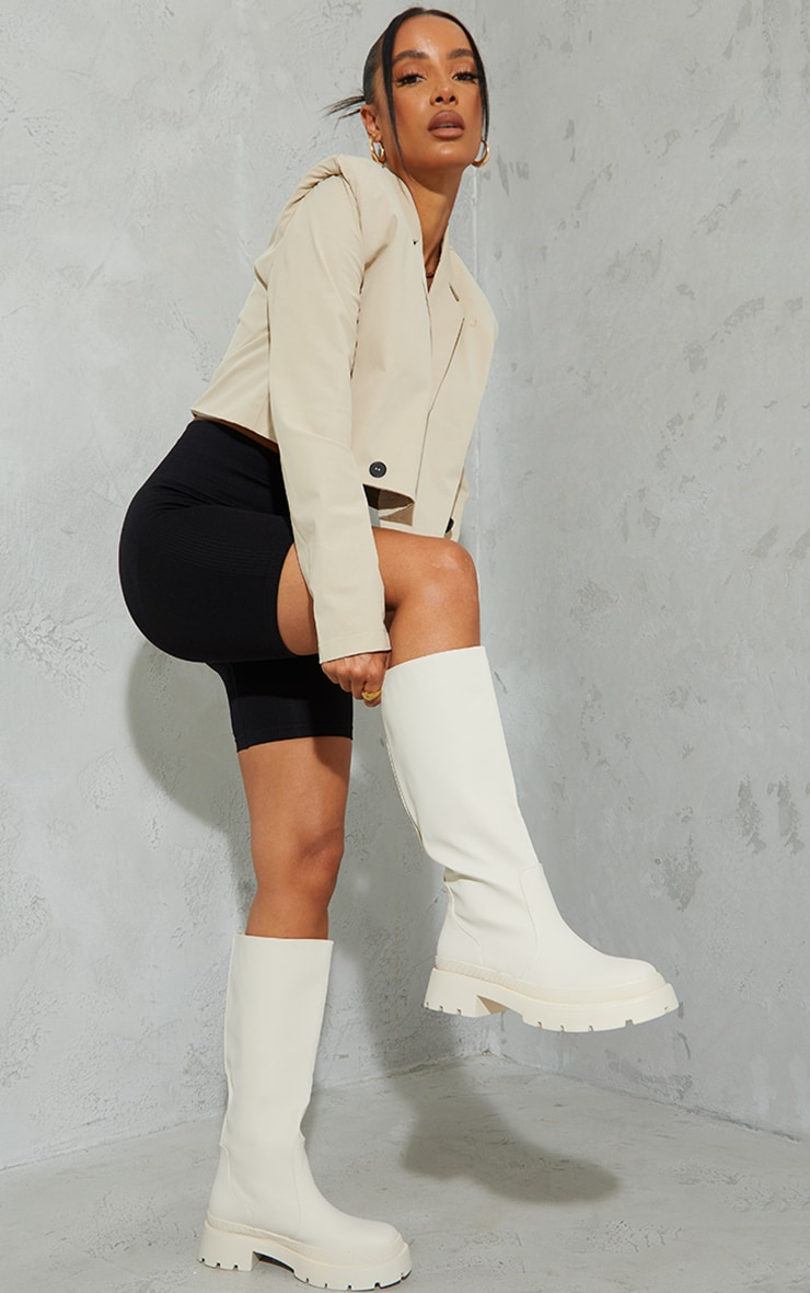 Cream Knee High Rubberised Boots 2