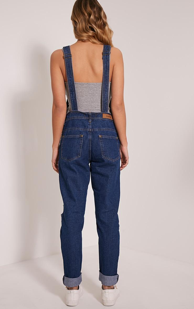 Ann salopette bleue en jean noire délavage foncé 2