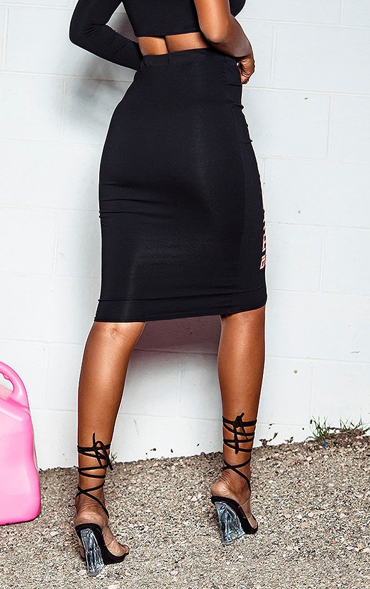 PRETTYLITTLETHING Black Midi Length Skirt 3