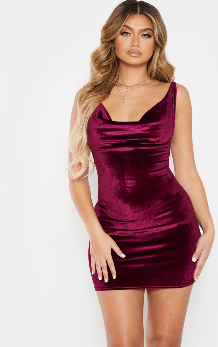 Burgundy Velvet Cowl Neck Bodycon Dress 1